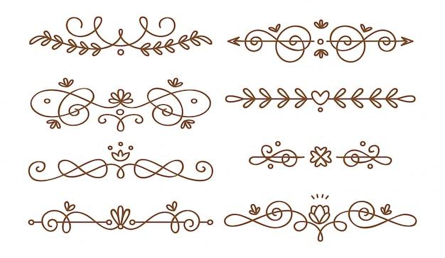 Set swirly dekorative trennwände