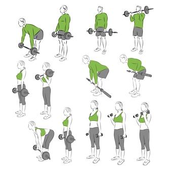 Set systematischer bodybuilding-übungen für die grundausstattung