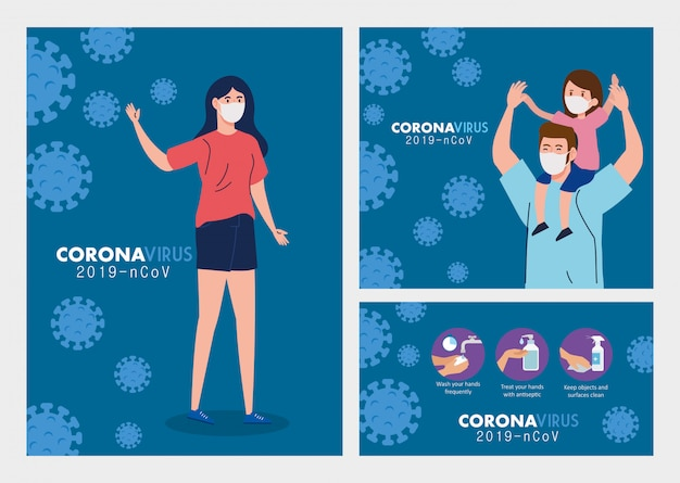 Set szenen, menschen tragen medizinische schutzmaske mit verhindern virus covid-19 vektor-illustration design