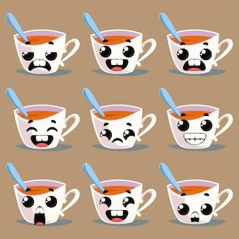 Set tassen mit emotionen. vektor-illustration im cartoon-stil spaß
