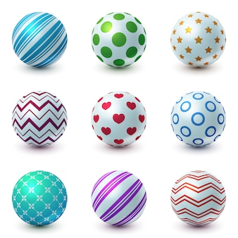 Set textur ball - realistische ikone.