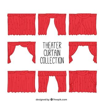 Set theater vorhänge hand gezeichnet