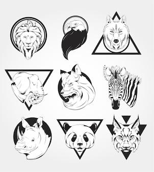 Set tieretiketten abzeichen retro-vektor-design grafikelement emblem logo abzeichen zeichen ident