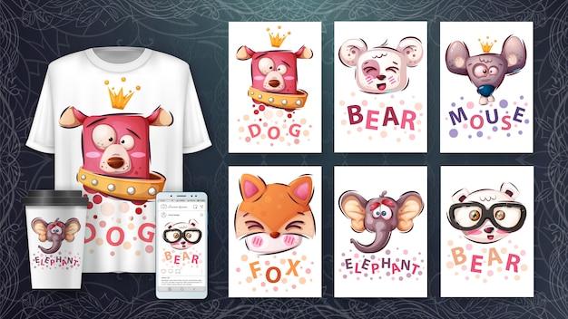 Set tierkopf - illustration und merchandising