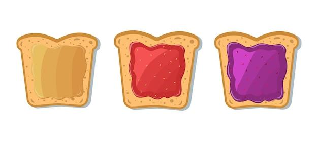 Set toast mit marmelade und erdnussbutter. cartoon-stil.