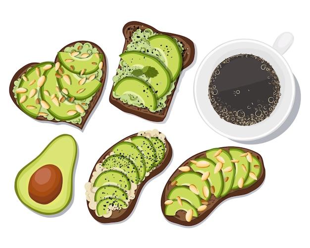 Set toasts mit avocado