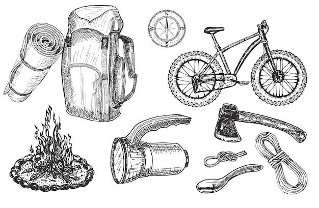 Set touristisches zubehör und ausrüstung für outdoor-abenteuer und camping