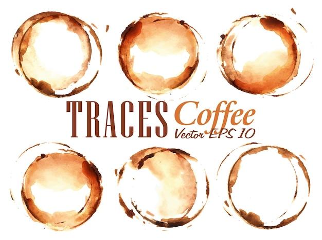 Set traces cup gezogen für kaffee