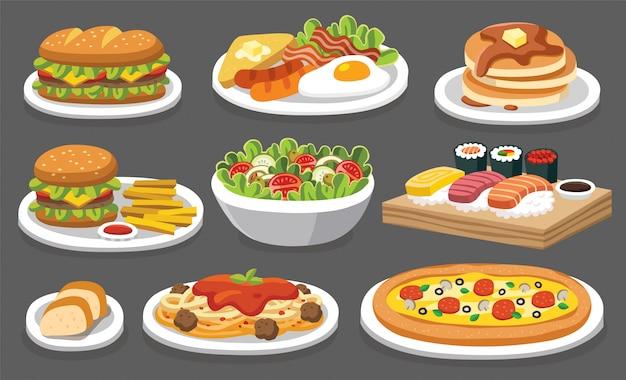Set traditionelles essen. lassen sie uns etwas leckeres leckeres essen essen. symbole für menülogos und beschriftungen.