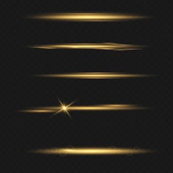 Set transparenter blitzlichteffekt, sonnenlicht speziallinse. helles gold blitzt und funkelt