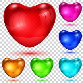 Set transparenter glänzender herzen in verschiedenen farben