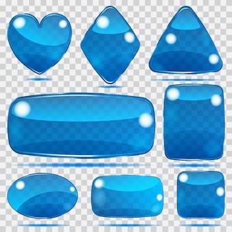 Set transparenter glasformen in blauen farben