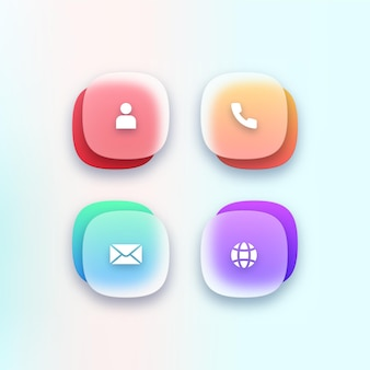 Set transparenter kontaktsymbole