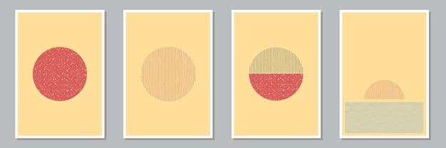 Set trendiger abstrakter, kreativer, minimalistischer, handgemalter kompositionen für wanddekoration, postkarten- oder broschüren-cover-design. vektor-illustration.