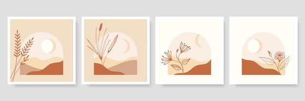 Set trendiger minimalistischer botanischer illustration als abstrakte linienkunstkompositionen mit blättern, modernes wandkunstplakat