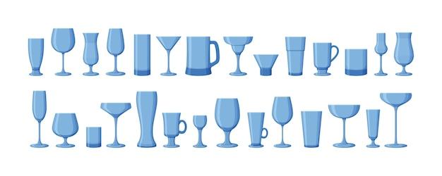 Set trinkgläser für wein, martini, champagner, bier und andere