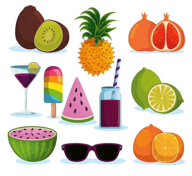 Set tropische früchte mit getränken und eis am stiel