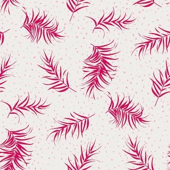 Set tropischer muster mit minimalen palmblättern