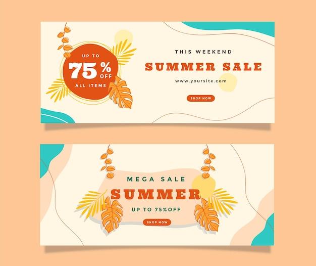 Set tropischer sommer-gradienten-banner-verkauf für soziale medien