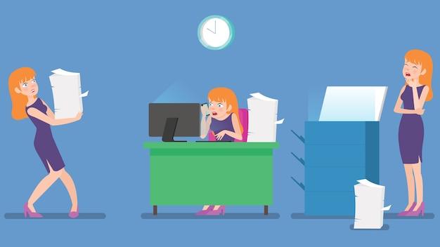 Set überarbeiteter weiblicher angestellter