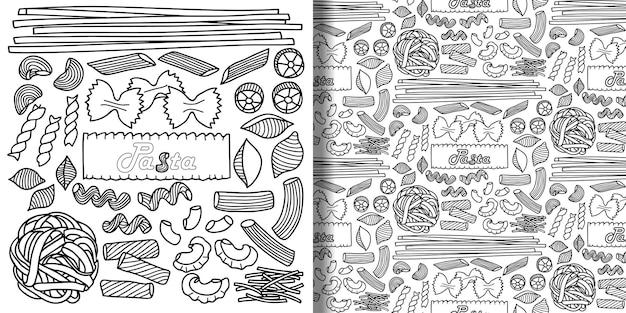Set und nahtloses muster mit pasta-elementen für menühintergründe textildrucke