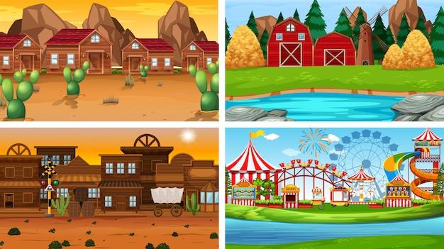 Set unterschiedlicher landschaftshintergrund