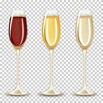 Set unterschiedliches getränk im glas