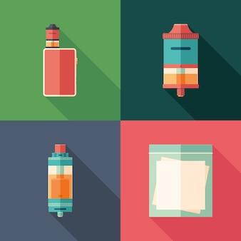 Set vaping flache quadratische ikonen mit langen schatten.