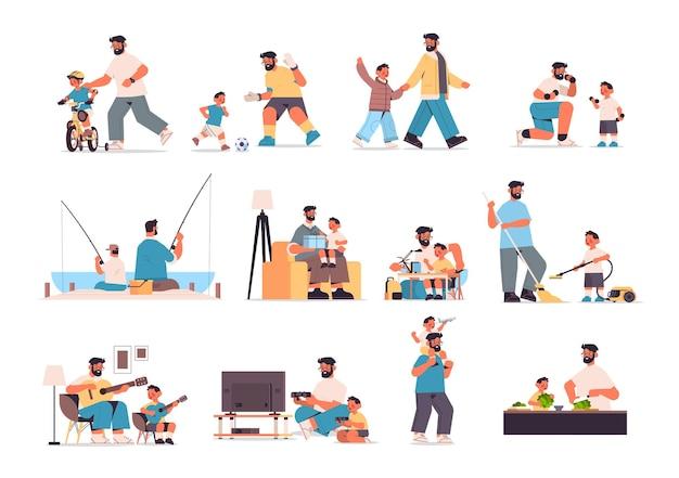 Set vater verbringen zeit mit kleinen sohn eltern vaterschaft freundliche familie konzept vater spaß mit seinem kind in voller länge horizontale vektor-illustration