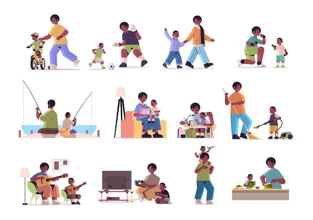Set vater verbringen zeit mit kleinen sohn elternschaft vaterschaft freundliches familienkonzept afroamerikaner vater spaß mit seinem kind in voller länge horizontale vektor-illustration