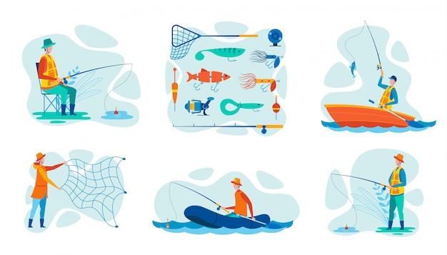 Set vector illustration fischereiausrüstung für fischer