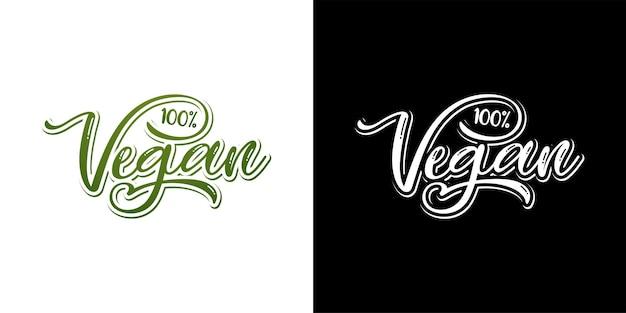 Set veganer schriftzug vctor