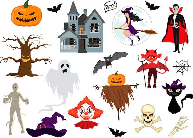 Set vektor-illustration von halloween-design-elementen fledermäuse kürbisse katzen und mehr