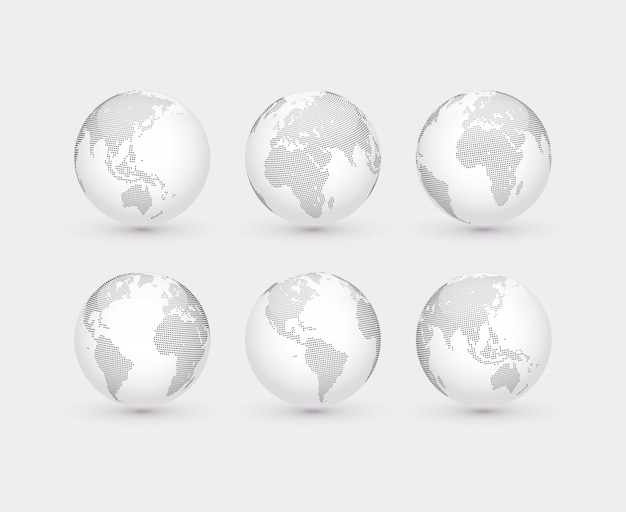 Set vektorauszug punktierte kugeln. sechs globen mit blick auf amerika, asien, australien, afrika, europa und den atlantik