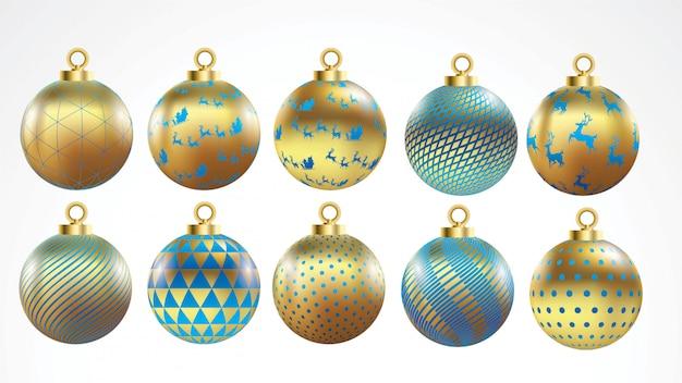 Set vektorgold und blaue weihnachtsbälle mit verzierungen. goldene sammlung isoliert dezember