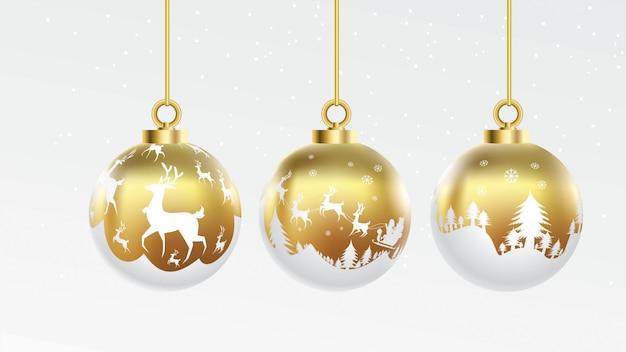 Set vektorgold und weiße weihnachtskugeln mit verzierungen. glänzende sammlung isoliert