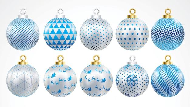 Set vektorgoldsilber und blaue weihnachtsbälle