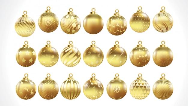 Set vektorgoldweihnachtskugeln mit verzierungen. goldene sammlung isoliert dekorationen.