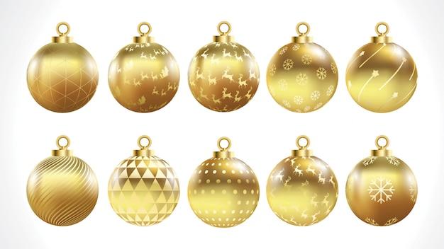 Set vektorgoldweihnachtskugeln mit verzierungen