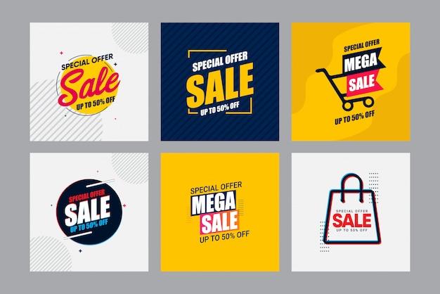 Set verkauf moderne banner-design-vorlage. bis zu 50% rabatt.