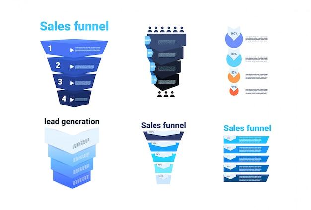 Set verkaufstrichter mit stufen stufen geschäft infografik. kauf diagramm konzept