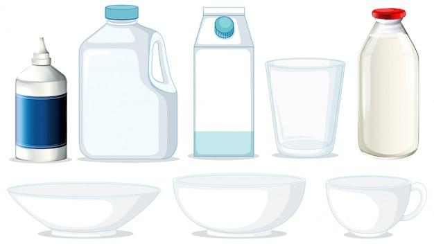 Set verschiedene behälter