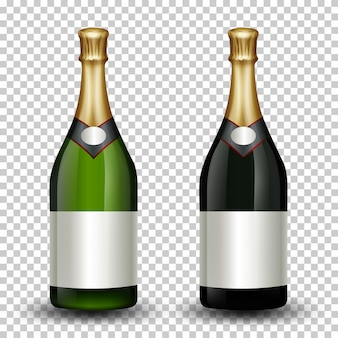 Set verschiedene champagnerflasche