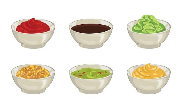 Set verschiedene dip-saucen in schüssel.