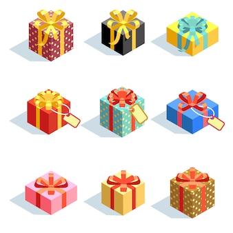 Set verschiedene farbige giftboxes 3d mit den bändern lokalisiert. flache vektor-illustration sammlung der geschenkboxpaketüberraschung mit band