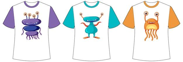 Set verschiedene hemden mit niedlichen monstern oder außerirdischen