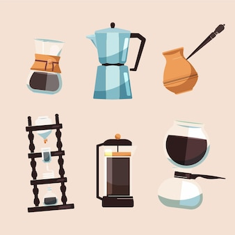 Set verschiedene kaffeebrühmethoden