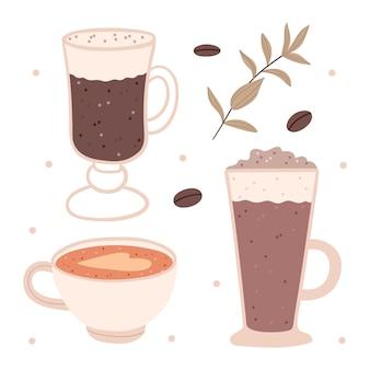 Set verschiedene kaffeesorten. hand gezeichnete illustration