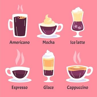 Set verschiedene kaffeesorten