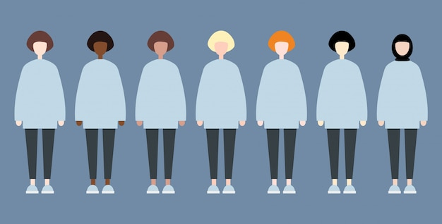 Set verschiedene rennenvektorfrauen
